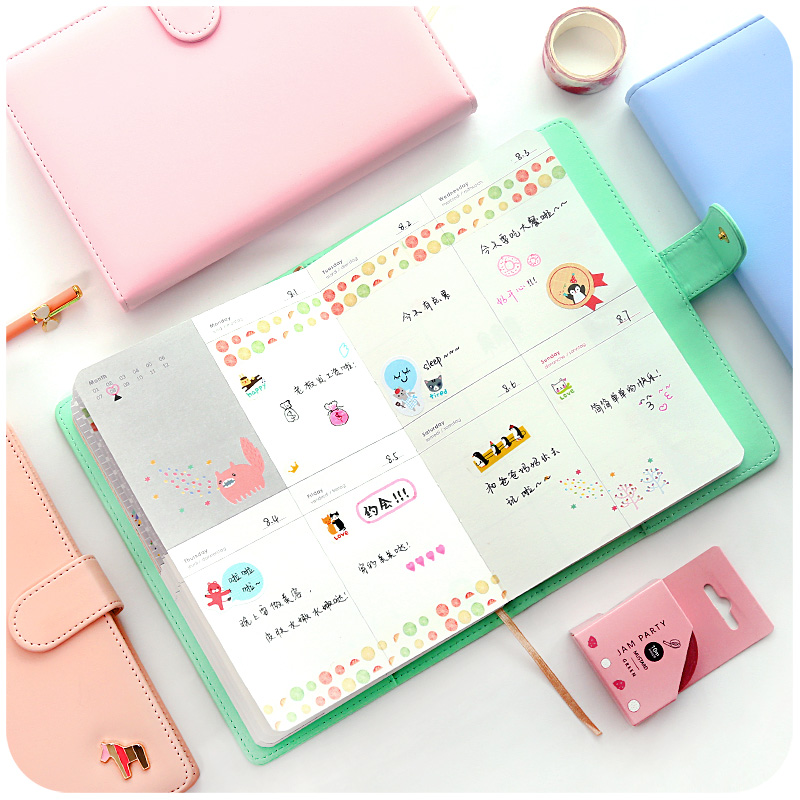 New Arrival Weekly Planner Sweet Notebook Creative Student Schedule Diary Book Color Pages School Supplies No Year Limit 1pc creative cute cartoon animal planner notebook diary book wooden school supplies student gift