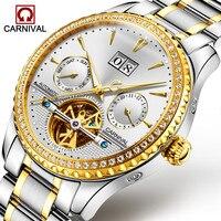 카니발 뚜르 비옹 자동 시계 남자 럭셔리 다이아몬드 기계식 시계 빛나는 손목 시계 남성 시계 erkek kol saati