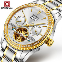 Carnival Tourbillon Automatic Watch Men Luxury Diamond Mechanical Watches Luminous Hands Wrist Watch Mens Clock erkek kol saati
