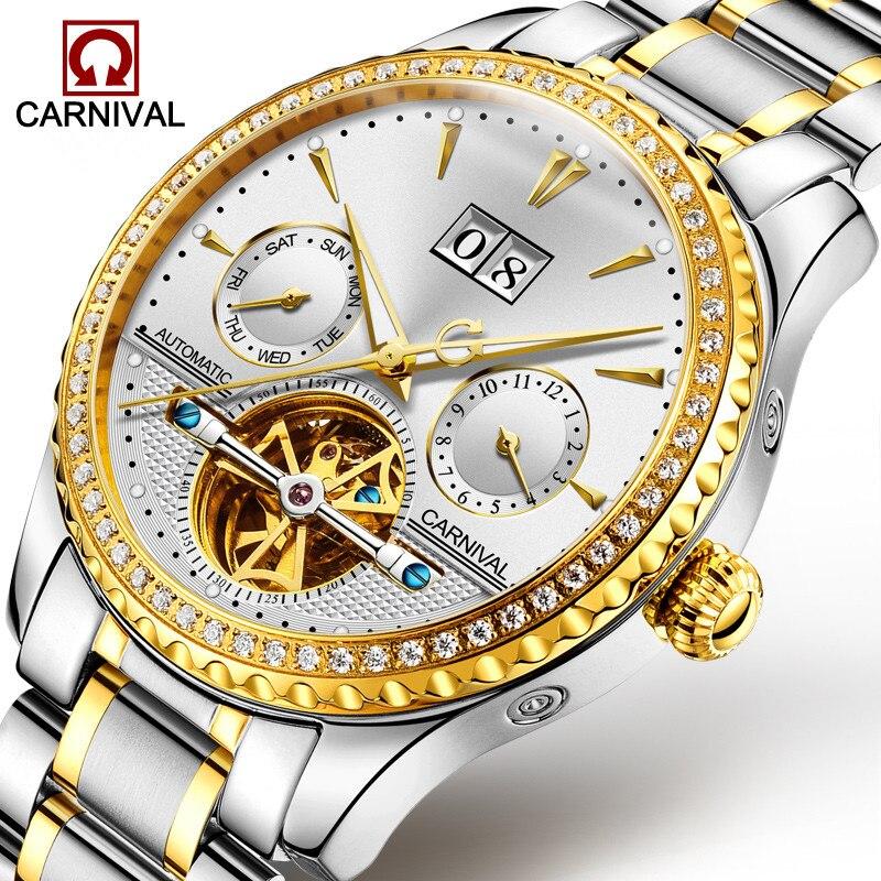 Carnival Tourbillon อัตโนมัตินาฬิกาผู้ชายหรูหราเพชรนาฬิกา Luminous Hands นาฬิกาข้อมือ Mens นาฬิกา erkek kol saati-ใน นาฬิกาข้อมือกลไก จาก นาฬิกาข้อมือ บน   1