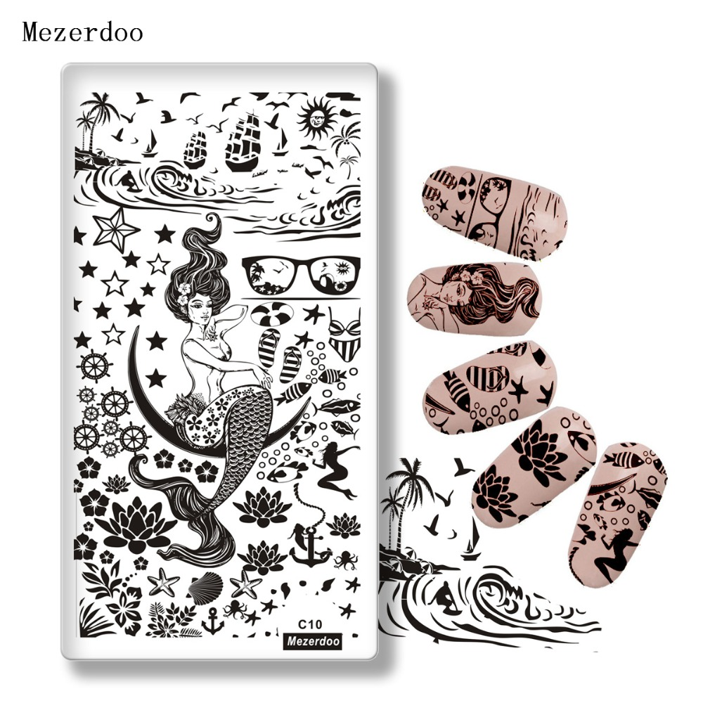 Mezerdoo Ocean Theme Nail Art Stamp Կաղապար Mermaid Sea Starfish Sailboat Image Nail Stamping Polish Plate DIY Nail Tool C10