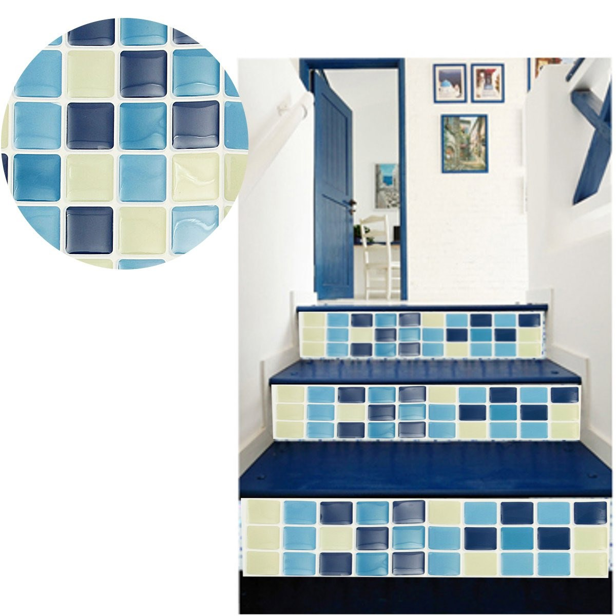 Mosaic Tile Blue Wall Sticker Red Brick Bathroom Kitchen Removable ...