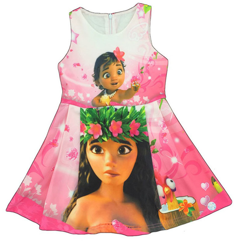Verano Vestidos para Niñas Moana princesa vestido de algodón + ...