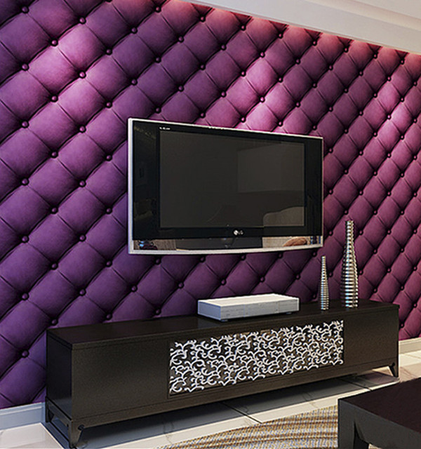 HANMERO New Style 3D Luxury Blocks Effect Designs Vinyl PVC Purple Wallpaper  Roll Living Room Hotel Part 40