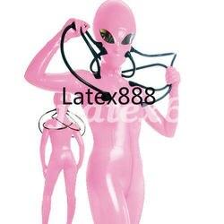 Neue Latex Gummi Catsuit Cosplay Rosa Mit Kapuze Aliens Bodysuit Insgesamt XXS-XXL