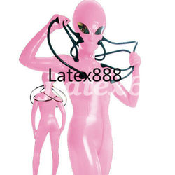 New Latex Rubber Catsuit Cosplay Pink Hooded Aliens Bodysuit Overall XXS-XXL