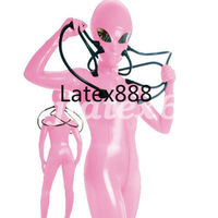 New Latex Rubber Catsuit Cosplay Pink Hooded Aliens Bodysuit Overall XXS XXL