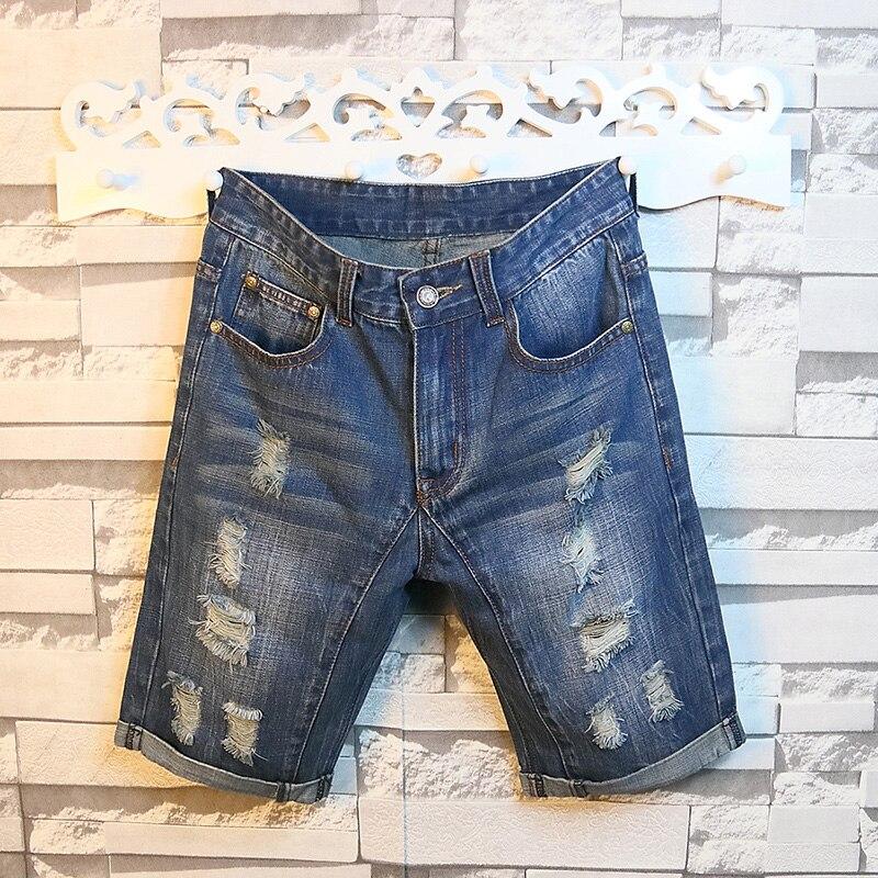 Men's Holes Denim Shorts Blue Short Jeans New Summer Men Straight Jean Shorts Men Knee length Blue Denim Shorts
