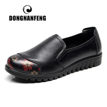 купить DONGNANFENG Women Female Ladies Cow Genuine Leather Shoes Flats Spring Autumn Round Toe Slip On Casual Soft Size 35-41 HD-832 дешево