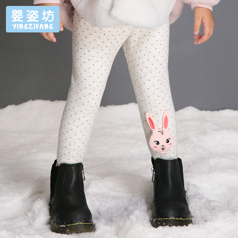 Hot Sale Winter Kids Trousers Girls Baby Elastic Waist Solid Color Pencil Pants Thick Soft Cartoon Patchwork Leggings