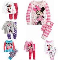 2016 Minnie Cartoon Mouse Baby Toddlers Kids Girls Polka Dots Stripe Nightwear Pajamas Set Sleepwear Homewear