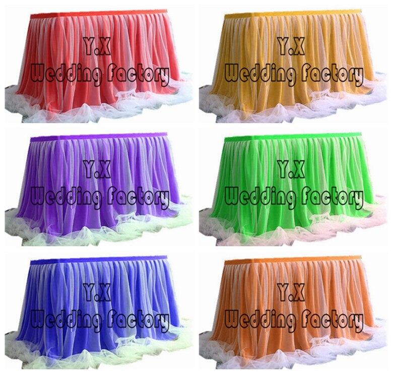 Jupe de Table en soie de glace de bonne qualité avec drapé Tutu Swag pour la décoration d'événement de mariage