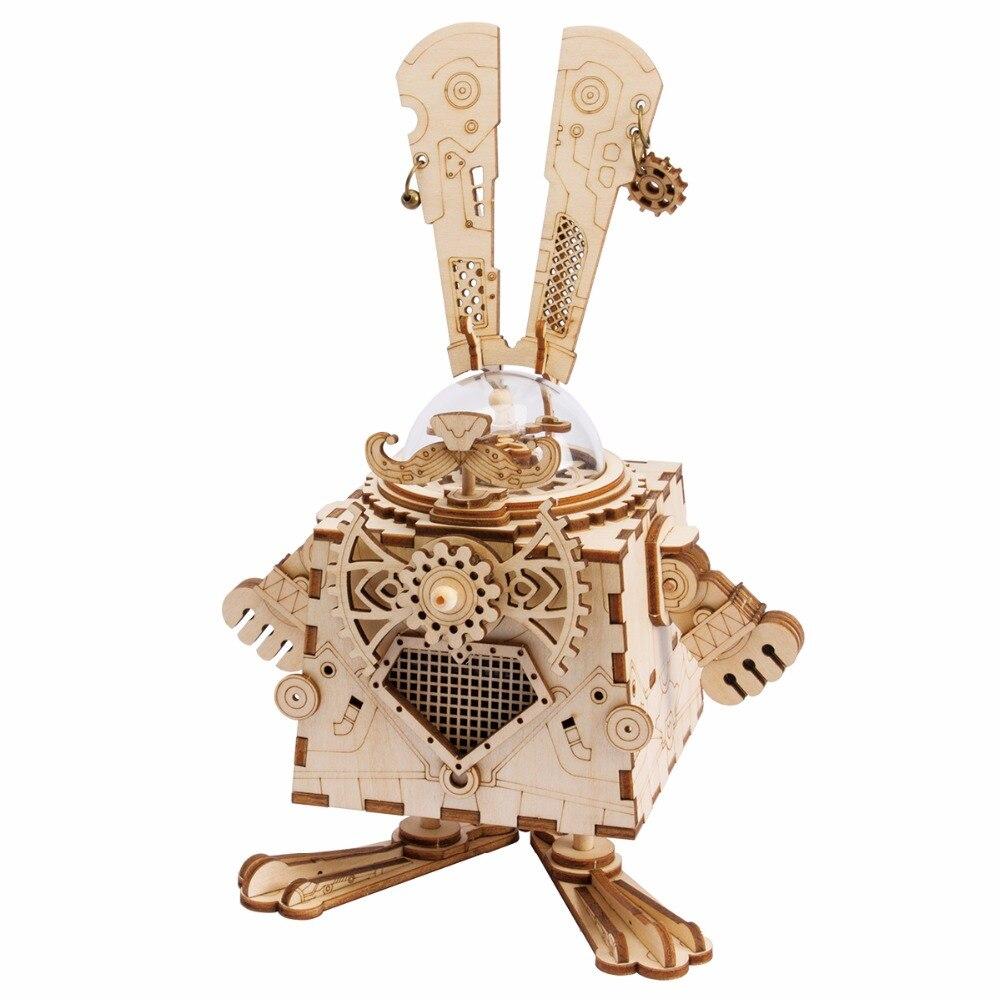 Robotime 3D Puzzle BRICOLAGE Mouvement Assemblé En Bois Modèle de Lapin pour Enfants filles garçons d'entraînement cérébral cadeaux Boîte à Musique Lapin AM481