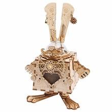 Robotime 3D Puzzle DIY Қозғалыс арқылы жиналған модель Wooden for Children Музыка Box Bunny AM481 --- NEW !!!
