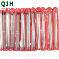 55Pcs Set 11 Sizes 5 20cm Double Pointed Stainless Steel Sweater Needle Knitting Needles Weave Knit