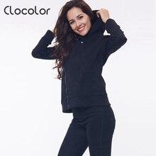 Clocolor women coat Solid Color Hooded Long Sleeve Women s Hoodie Zipper Sweatshirts femaleFall Winter women
