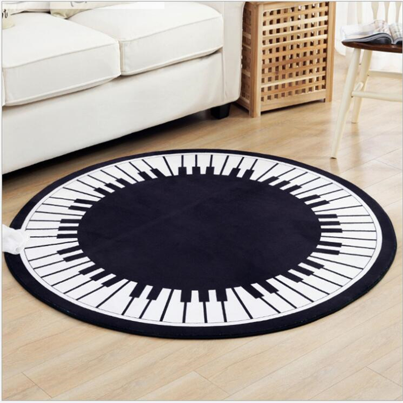 AOVOLL Area Rug For Living Room  Round Piano Carpet Coffee Table Home Bedside Blanket Computer Chair Mat Rugs  Baby Playing