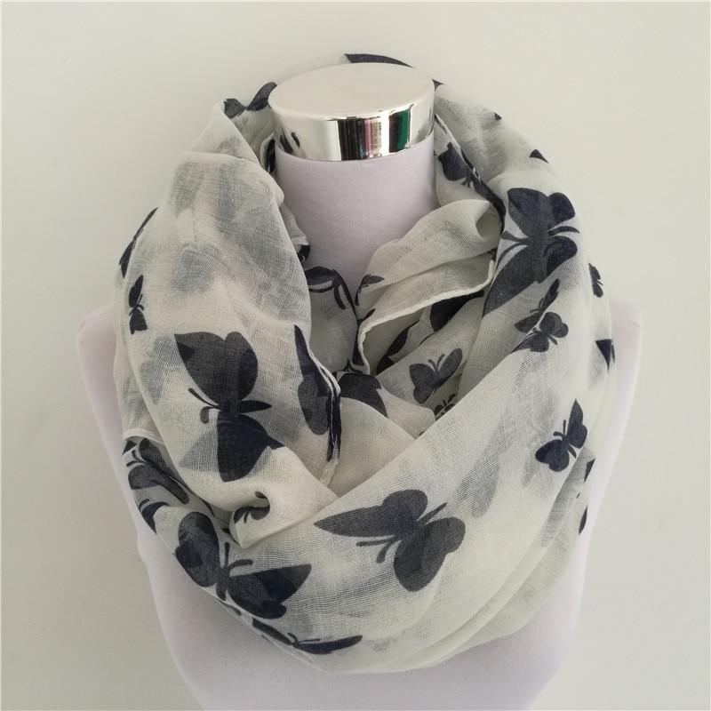 New Women Fashion Viscose Cotton Butterfly Print Infinity Scarf Fashion Animal Scarves Shawl Hot Sale Neckerchief
