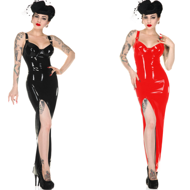 Women's PU Leather Bodycon Slim Long <font><b>Dress</b></font> <font><b>Sexy</b></font> Red Black High Cut Spaghetti Strap Party Club Wear <font><b>Dress</b></font> Vestidos <font><b>6XL</b></font> Plus Size image