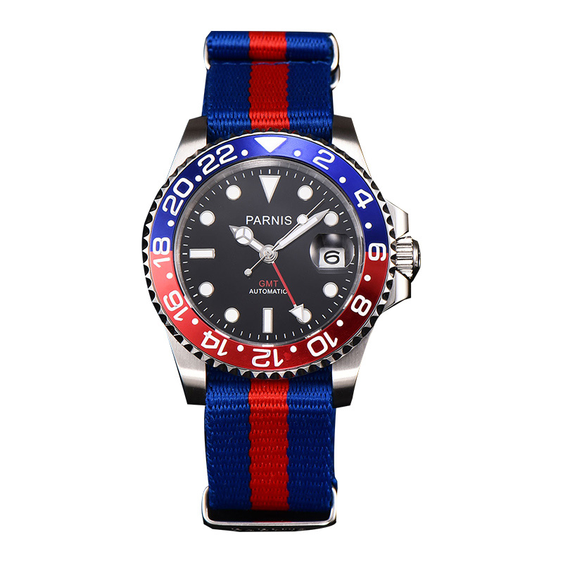 Parnis 40mm Automatic Mens Watches Red Blue Nylon Strap GMT Calendar Diver Men Mechanical Watch Reserva Man Wristwatch ClockParnis 40mm Automatic Mens Watches Red Blue Nylon Strap GMT Calendar Diver Men Mechanical Watch Reserva Man Wristwatch Clock