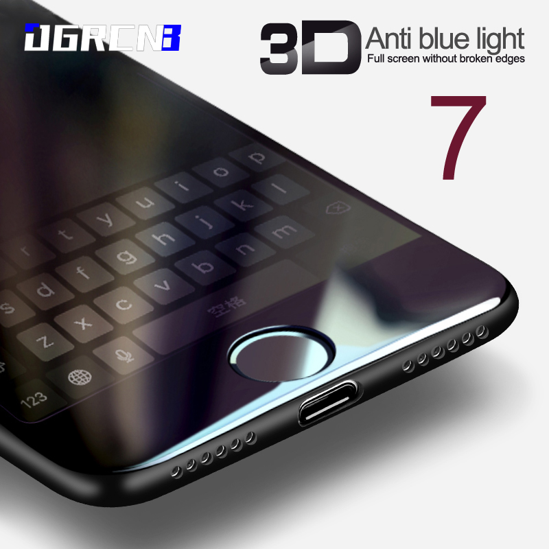3D Glass For font b iPhone b font 7 6 6s Plus Screen Protector Round Curved
