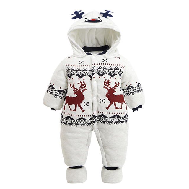 01b9fb2a34e7 New Style Christmas Baby Romper Cotton padded Long Sleeve Hooded ...