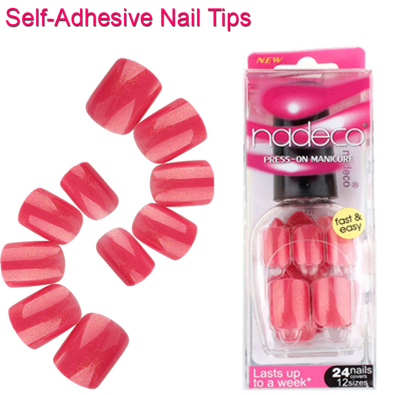 12Sets Full Cover Rose Red Self Adhesive Fake Nail Polish