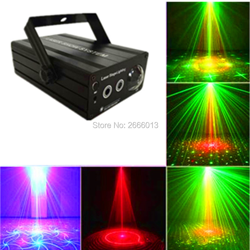 RG Mini 3 Lens 24 Patterns LED Laser Projector Stage Lighting Effect 3W Blue For DJ Disco Party Club Laser niugul dmx stage light mini 10w led spot moving head light led patterns lamp dj disco lighting 10w led gobo lights chandelier
