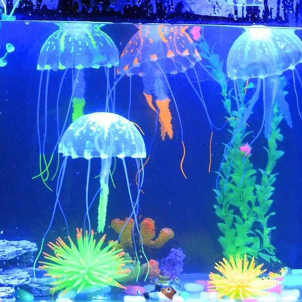 Glowing Effect Artificial Jellyfish Fish Tank Aquarium Decor Mini Submarine Ornament 1pcs