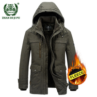 2018 Men's plus size M 5XL winter thicken hooded khaki jacket man casual brand 100% cotton afs jeep fleece thick jackets coats