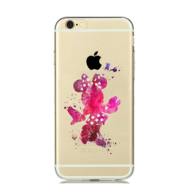 newest c58fd 4927d US $1.31 10% OFF|Adorable Minnie Mouse Case Cartoon Cover For iphone 5s 5  SE 6s 6 7 8 Plus Transparent Soft Silicone Cover Art Watercolor Design-in  ...