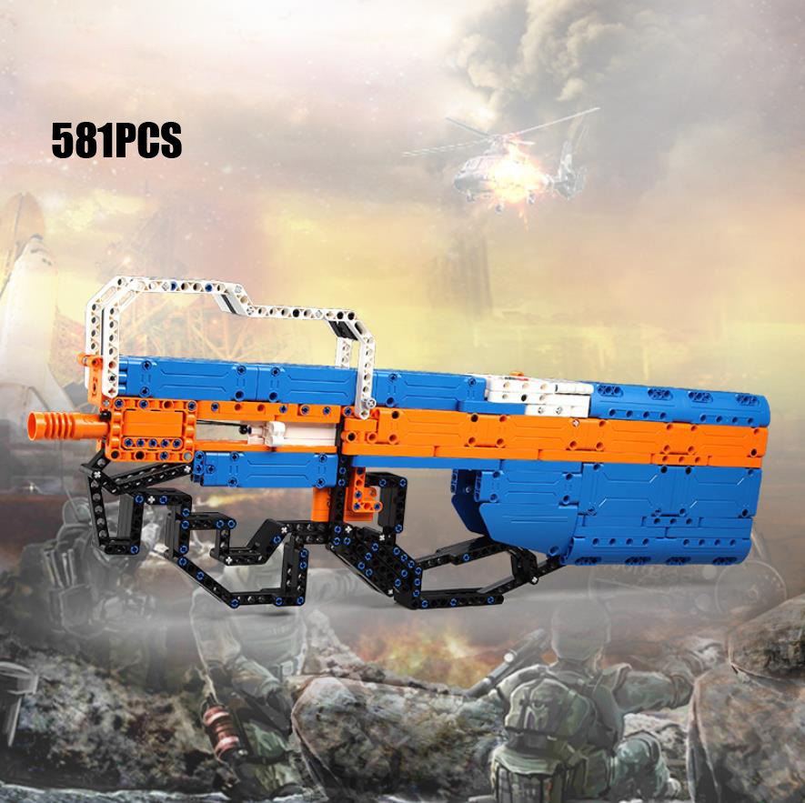 Modern military weapon Project 90 building block P90 <font><b>rubber</b></font> band Submachine gun model assemblage toys bricks collection image