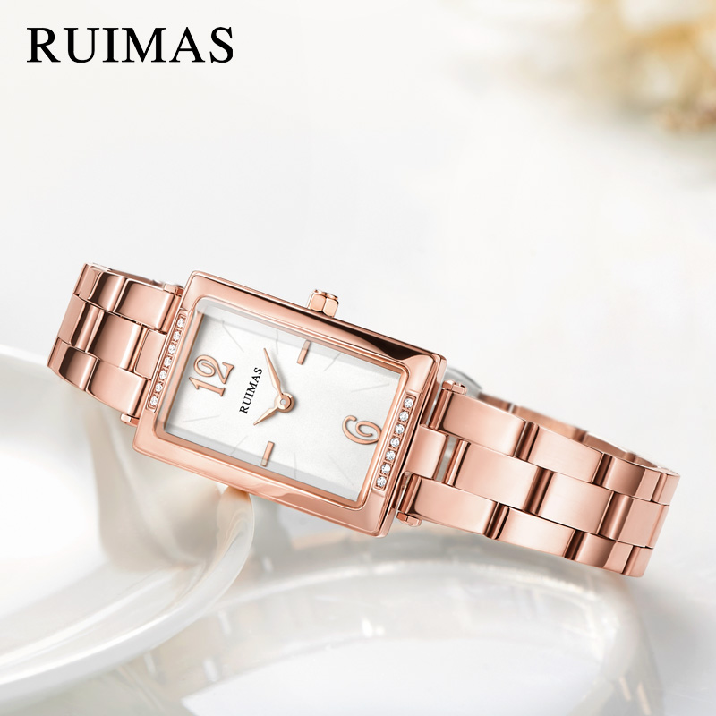 RUIMAS Luxury Women Bracelet Watches Relogio Feminino Top Brand Fashion Rectangle Quartz Ladies Watch Clock Montre Femme sinobi ceramic watch women watches luxury women s watches week date ladies watch clock montre femme relogio feminino reloj mujer