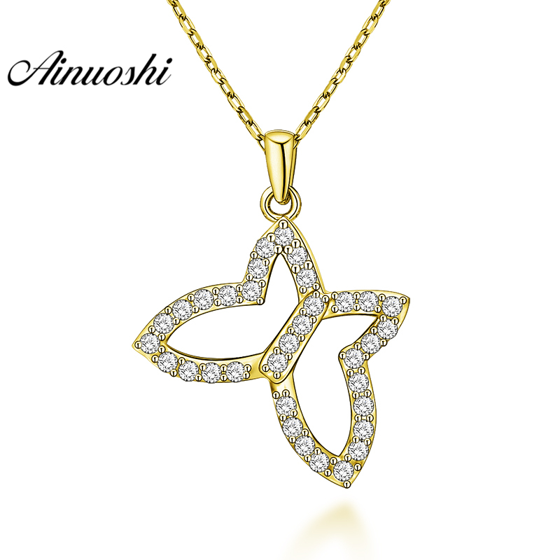 AINUOSHI 10K Solid Yellow Gold Pendant Animal Pendant SONA Diamond Women Men Gold Jewelry Delicate Butterfly Separate Pendant delicate rhinestone filigree butterfly solid color ear cuff for women