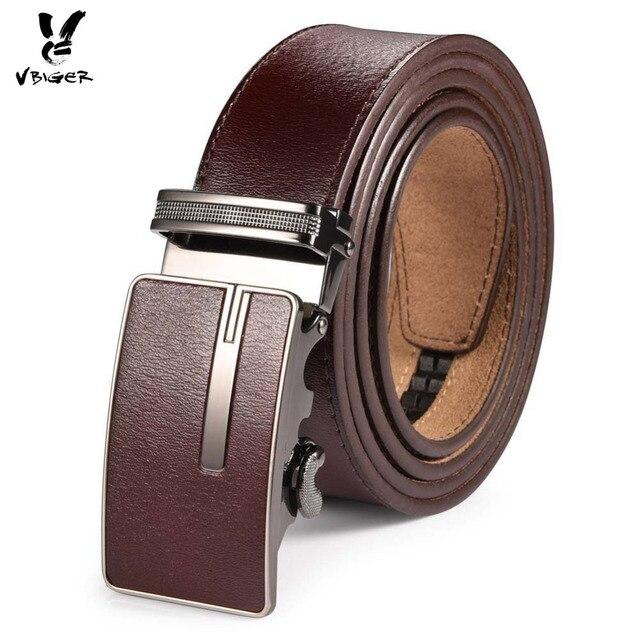 a48ec0777a77 Vbiger hombres 100% Cuero auténtico Cinturón correa cinturón de cuero  hebilla automática cinturones casual para