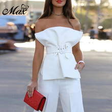 Max Spri 2019 New Women Sexy Strapless Sleeveless Full Length Pants & Top Bodycon Stylish Party Club 2 Piece Set Suit With Belt