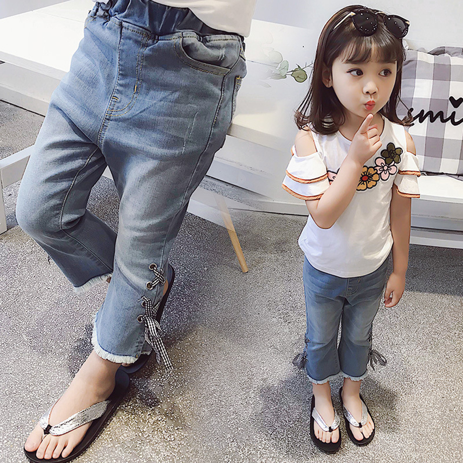 Jeans For Girls 2018 Summer Jeans For Teenagers Plaid Ribbon Childrens Jeans Fashion Clothes For Teen Girls 3 4 6 8 10 12 Years