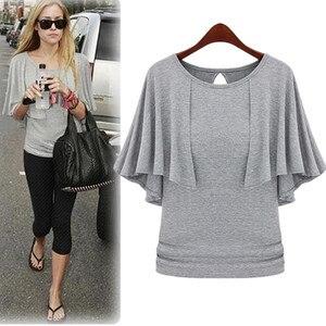 Женская блузка большого размера плюс, новая Корейская хлопковая блузка с рукавами летучая мышь, черная, белая, Красная футболка из модала 4XL ...
