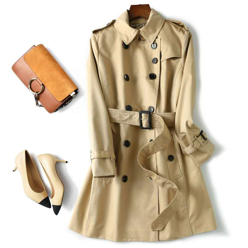 new elegant women winter long-sleeved windbreaker Cotton Double-breasted Short   Trench   coat belt Coat women short   trench   coat