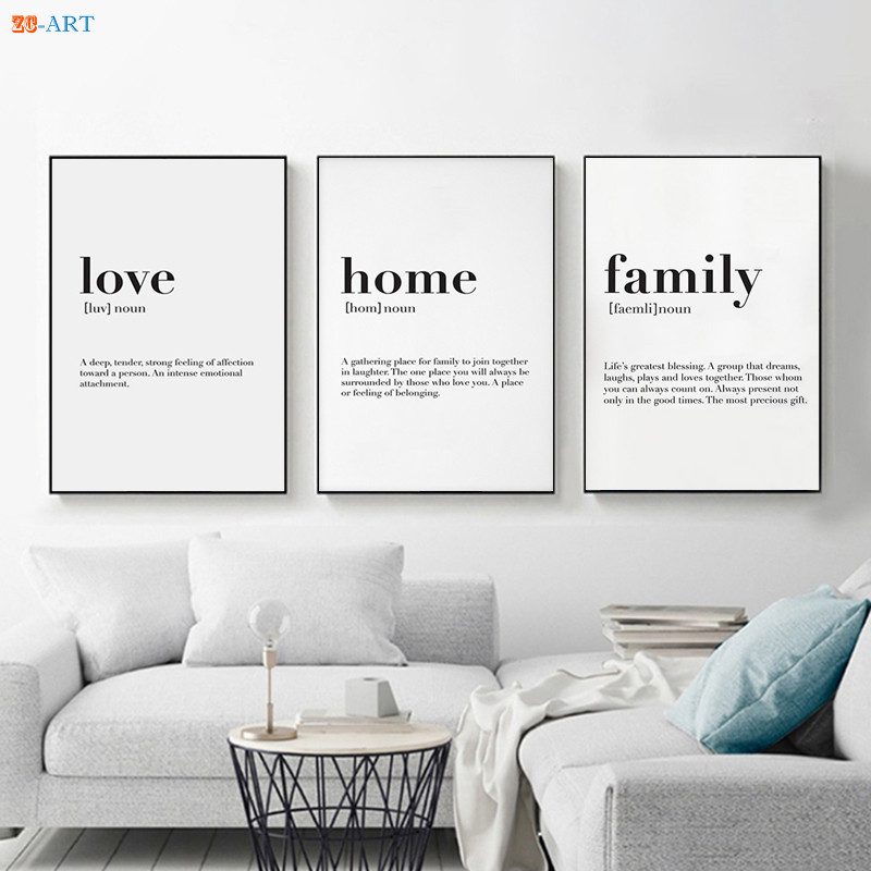 Nordic Minimalist Canvas Painting Love Home Family Quote Poster Print Modern Wall Art Wall Pictures For Living Room Home Decor