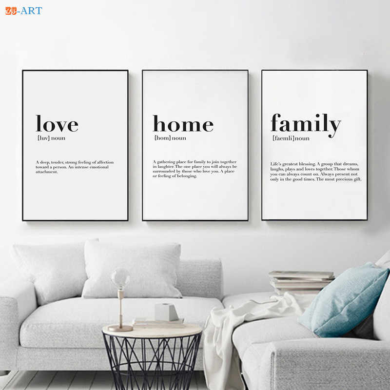 Nordic Minimalist Family Quote Wall Art Canvas Poster Print Painting Wall Pictures for Living Room Home Decor
