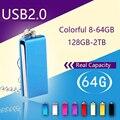 A prueba de agua de Metal Llave USB Pendrive 64 GB 128 GB Memoria USB Flash Drive 1 TB 2 TB 16G 32G Pen Drive Tarjeta de Memoria Flash Memory Stick Creativo