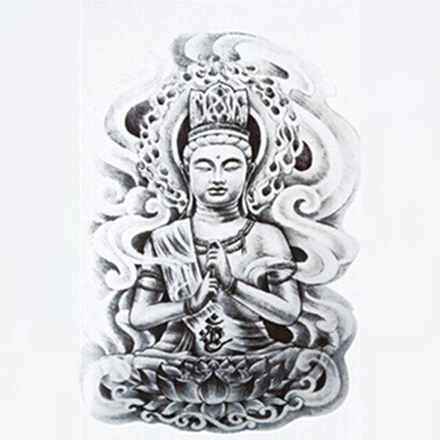 Us 043 17 Offsex Ramię Tatuaż 3d Mężczyźni Budda Tatuaże Wzory Wodoodporny Tymczasowy Tatuaż Duże Ciało Art Naklejki Lotos Flash Tatuaż Rękaw W