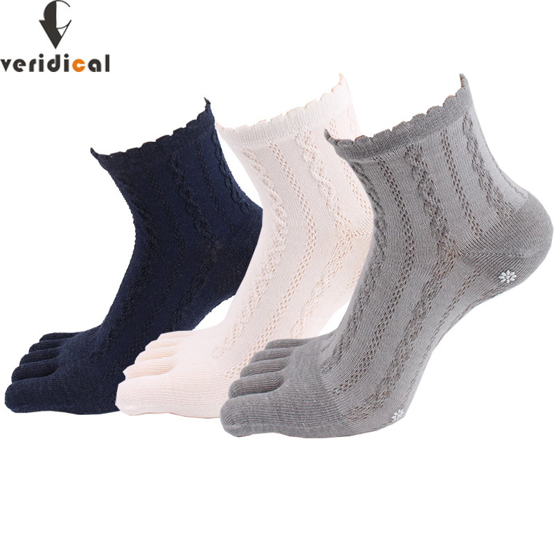 VERIDICAL 5 Pairs/lot Cotton Socks With Toes Women Girl Solid Lace Five Fingers Socks Harajuku Sox Snowflakes Silicone Non-slip