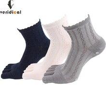 Veridical 5 paires/lot chaussettes en coton avec orteils femmes fille solide dentelle cinq doigts chaussettes Harajuku Sox flocons de neige Silicone antidérapant