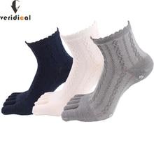 Veridical 5 par/partia bawełniane skarpetki z palcami kobiety dziewczyna solidna z koronkowym pięć palców skarpetki Harajuku Sox płatki śniegu silikonowe antypoślizgowe