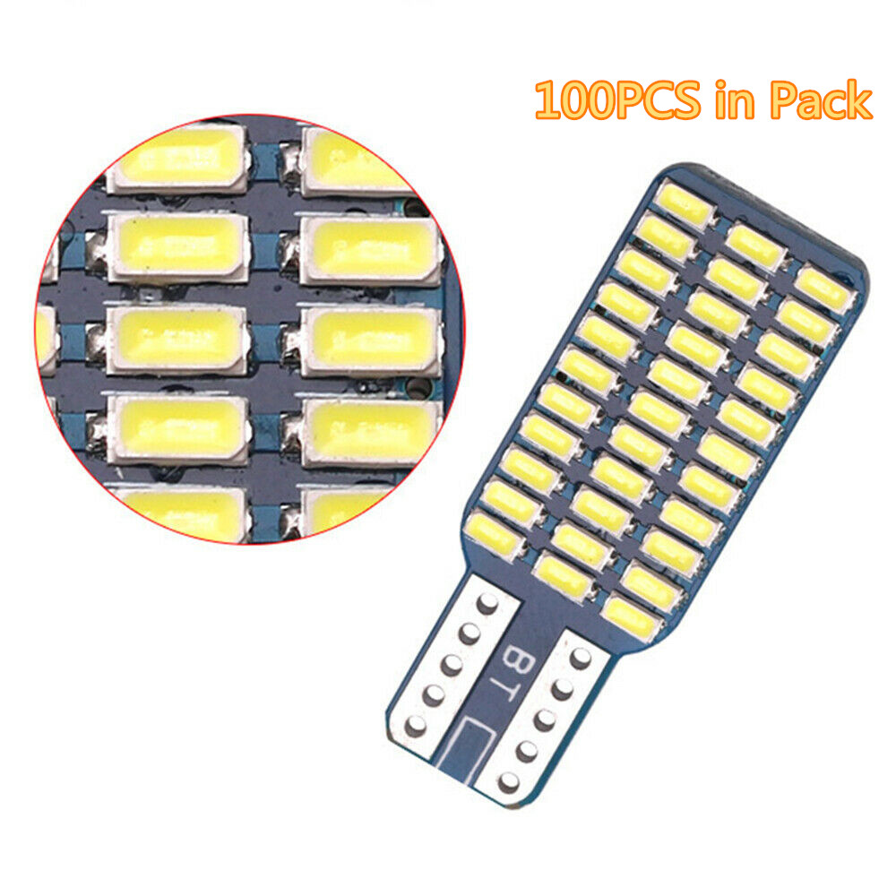 Fuleem <font><b>100PCS</b></font> <font><b>T10</b></font> 192 194 168 W5W 33SMD 3014 6500k <font><b>Canbus</b></font> High Power White Dome Lamp Tail Light Bulbs 12V image