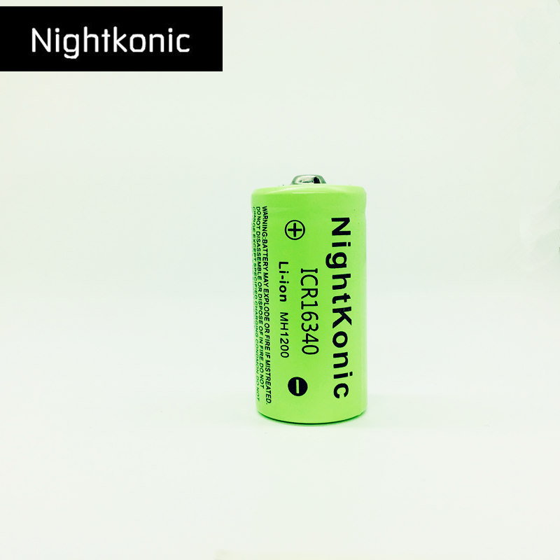Original Nightkonic 3,7 V Li-Ion ICR <font><b>16340</b></font> Akku 700 mAh <font><b>Lithium</b></font>-<font><b>Batterie</b></font> für LED-Blitz Licht Bike Headla image