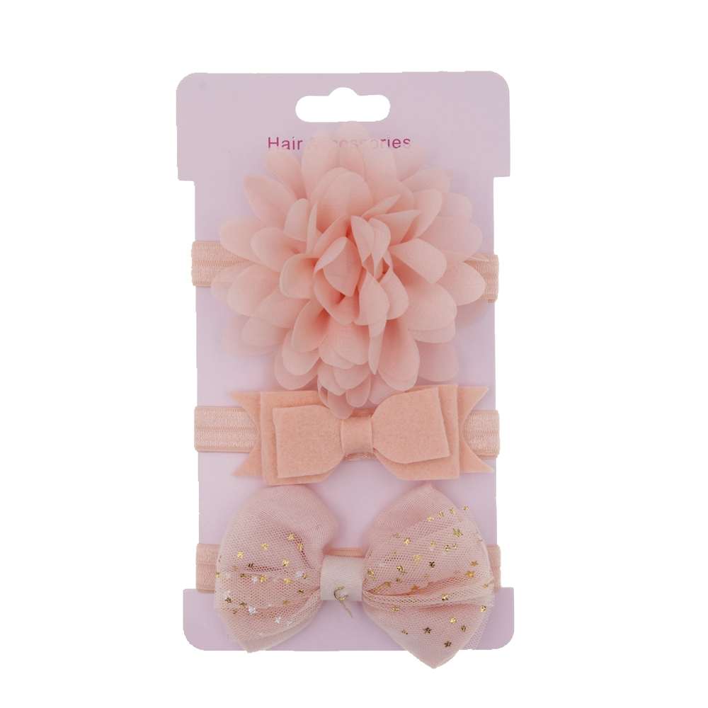 2019 fashion Korean children hair accessories elastic flower Cards Headband set hair bow band   headwear   3pcs/lot