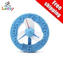 Factory wholesale fashion mini USB charging clock fan can be customized
